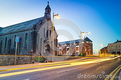 Church in Limerick city at night