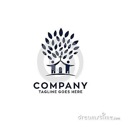 Tree Church Logo Design Template Vector Illustration