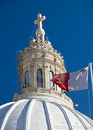 Church with maltese flag malta detail