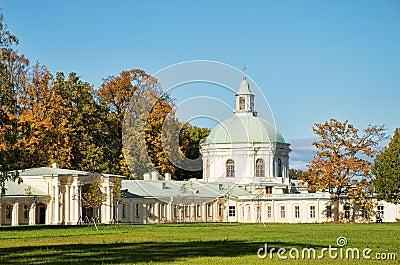 Church of Menshikov palace in Lomonoisov in autumn