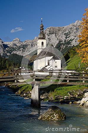 Church with mountains