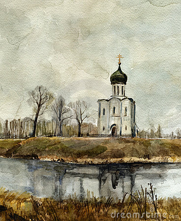 Church on the Nerl. Watercolor.