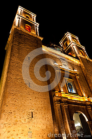 Church at night in Valladolid Mexico