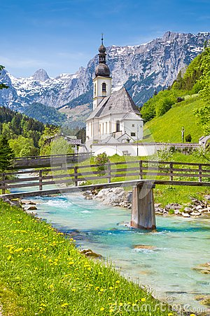 Free Church Of Ramsau, Nationalpark Berchtesgadener Land, Bavaria Ger Royalty Free Stock Images - 111028899