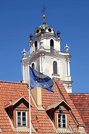 Free Church Of St. John And Flag Of EU, Vilnius, Lithuania Stock Image - 62271211