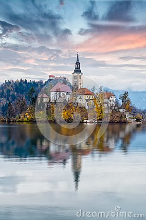 Free Church On Bled Lake Stock Photo - 104419960