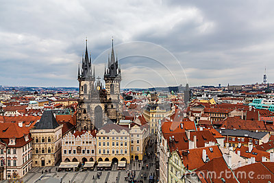 Church of Our Lady before Týn, Prague. Editorial Stock Image