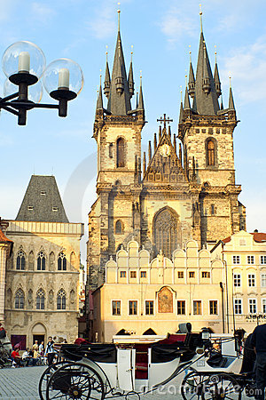 Church of our Lady before Tyn in Prague Editorial Stock Photo