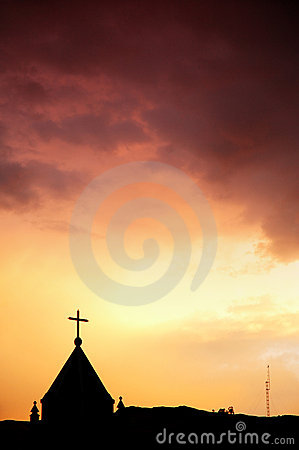 Church and red sky