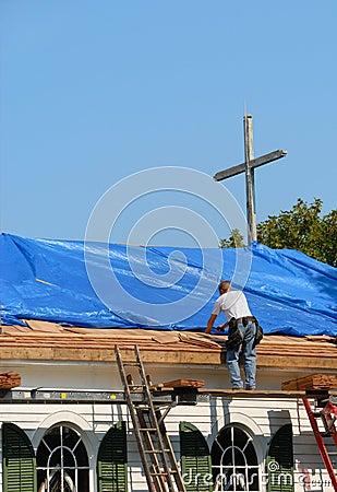 Free Church Roof Repair Royalty Free Stock Images - 1416599
