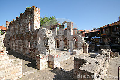 Church ruins in Nessebar Editorial Photo