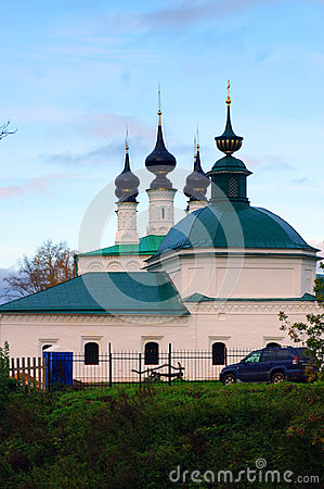 Church in the Russian city of Suzdal in autumn at sunset