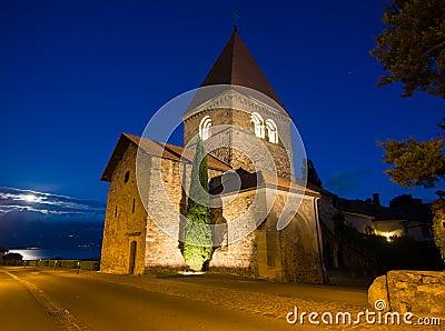 Church In Saint-Sulpice, Switzerland After Sunset