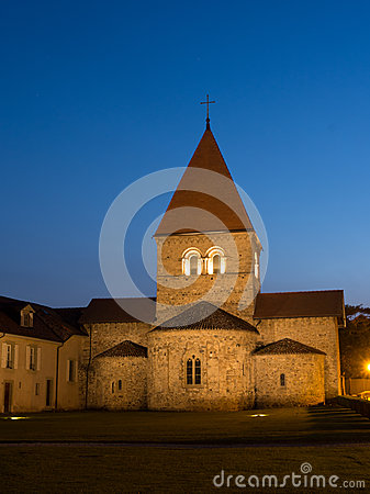 Church In Saint-Sulpice, Switzerland After Sunset