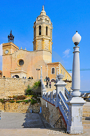 Church of Sant Bartomeu in Sitges, Spain Editorial Stock Photo