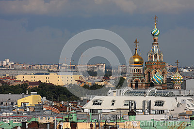 Church of Savior over the roofs of St-Petersburg