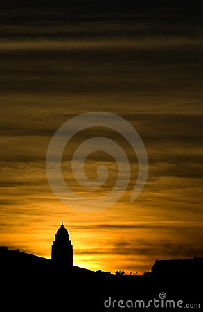 Free Church Silhouette In Sunset Stock Photos - 3212323