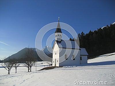 Church on snowy mountainside