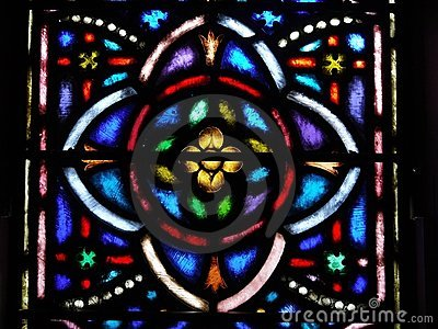 Church: stained glass window quatrefoil design