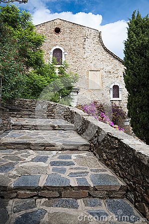 Church and stairs at Bormes les Mimosas