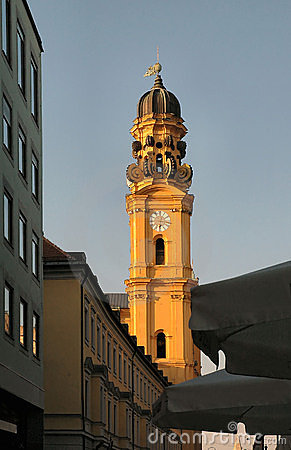 Church steeple at sunset in Munich, Germany