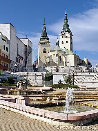 Church, theatre and fountain in Zilina