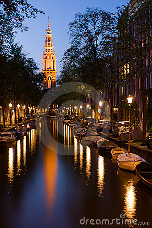 Church tower and canal in Amsterdam