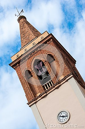 Church tower with clock and bell