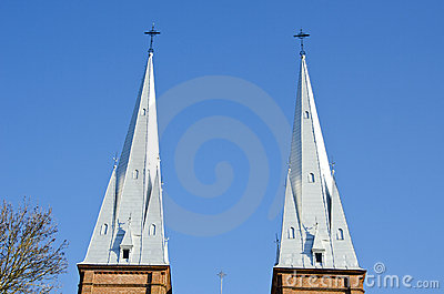 Church towers twins background blue sky religion
