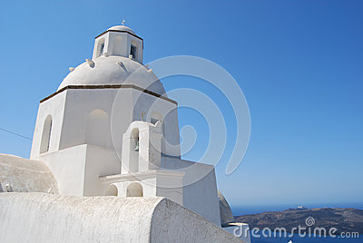 Church in the town of Fira Santorini Greece
