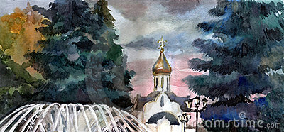 Church in town. Watercolor.