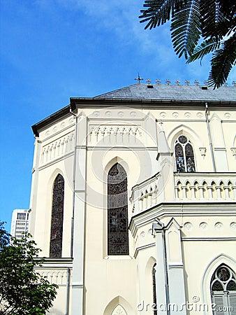 Church under tropical blue sky