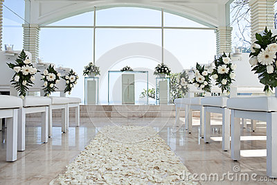 Church for wedding with petals carpet