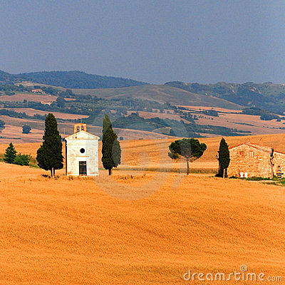 Church in wheat field