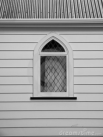Church: white wooden window