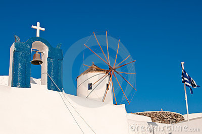 Church, windmill and greek flag