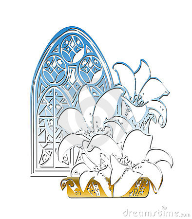 Church Window Easter Lillies