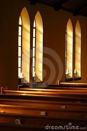 Church window light.