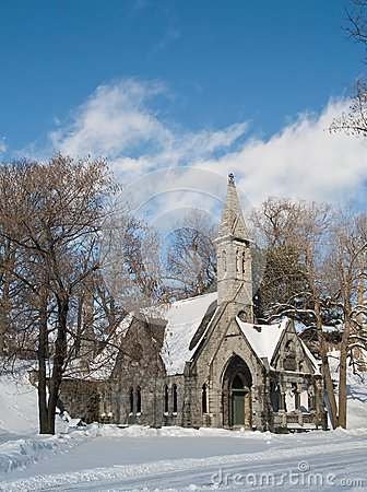 Church and winter day
