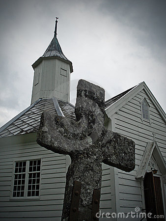 Free Church With Old Cross Royalty Free Stock Photos - 17797638