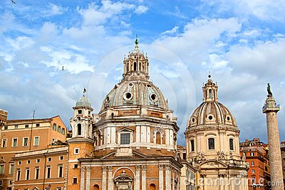 Churches and Trajan s Column in Rome, Italy