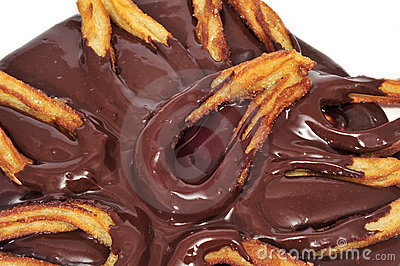 Churros con chocolate  typical Spanish sweet snack