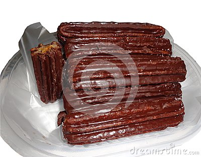 Churros dipped in chocolate
