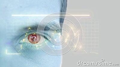 Ciérrese para arriba del ojo masculino con la exploración del iris Tecnolog?a, reconocimiento de la identidad y concepto futuros  metrajes