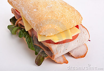 Ciabatta sandwich stuffed with meat
