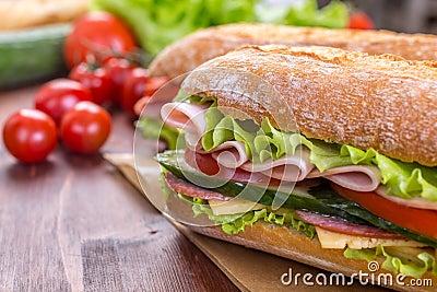 Ciabatta Sandwiches with ham