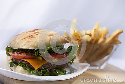 Ciabatta, White, Isolated, White Background, Food, Bread, Cheeseburger, Cheese, Hamburger, Meat, Lettuce, Beef, Bun, Burger, Grill