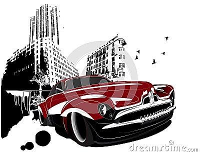Cidade clássica retro do edifício do carro de Grunge