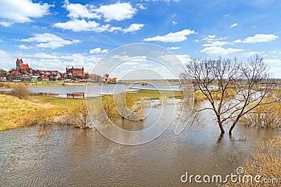 Cidade de Gniew com o castelo teutonic no rio de Wierzyca