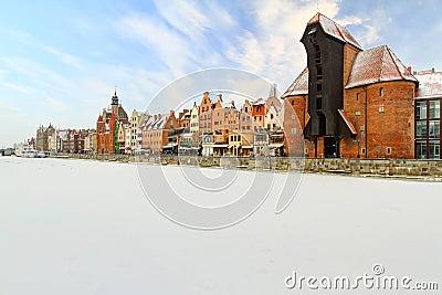 Cidade velha em Gdansk no inverno